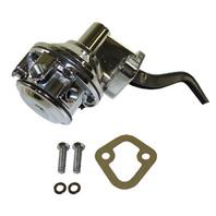 """Chrome Mechanical Fuel Pump Pontiac V8 301 326 350 389 400 455 80GPH 1/4"""" IN OUT"""