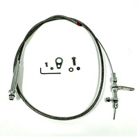 "TH350 57"" Braided Stainless Steel Kick Down Cable SBC BBC Turbo Tranny Detent"