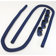 "44"" Blue Stainless Steel Heater Hose Kit w/ Blue Aluminum End Caps"