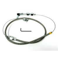 "36"" Stainless Throttle Cable W/ 24"" Stainless Braid For Hot Rod, Rat Rod, Custom"