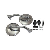 "Hot Rod 4"" Polished Stainless Steel Swan Neck Mirror Set"
