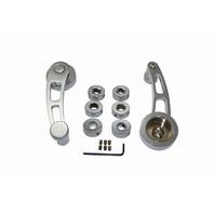 Hot Rod Chrome Billet Aluminum Short Window Crank Handle Kit Chevy Ford Mopar V8