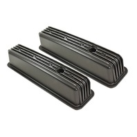 1987-99 SBC Chevy Black Aluminum Finned Valve Covers with Hole Tall 305-350