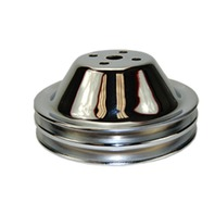 SBC Chevy 283-350 Chrome Steel Smooth SWP Double Groove Water Pump Pulley