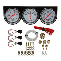 "Universal 2-5/8"" 3 Gauge Set Chrome Bezel Water Oil Pressure Ammeter Kit"