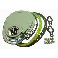 Chrome SBC Chevy 2pc Timing Chain Cover Kit