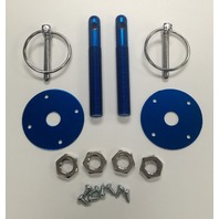 "Muscle Car Blue Aluminum 3/16"" Flip-Over Style Hood Pin Set 1/2"" Studs"