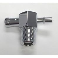 "Hot Rod Chrome Aluminum 90 Degree Intake Manifold Vacuum Tee 3/8"" NPT SBC BBC"