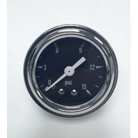 "Hot Rod Chrome Black Face 1.5"" Fuel Pressure Gauge 0-15 PSI"