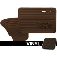 DOOR PANELS FRONT/REAR, 1967-78 VW BUG W/POCKETS BOTH SIDES, BROWN SMOOTH VINYL