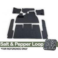 CARPET KIT, 7PC, W/ FOOTREST/HTR GROMMETS, 58-68 BUG SALT/PEPPER LOOP GREY CLOTH BINDING