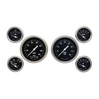 Classic Instruments Hot Rod Series Black 6 Gauge Set -Speedo, Tach, Fuel, Oil...