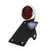 LED Bobber  Style Vertical Taillight w/ Smoke and LED License Plate Light Black