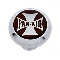 "Chrome Aluminum ""Fan/Air"" Dash Knob with Glossy Black Maltese Cross Sticker"