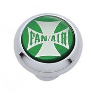 "Chrome Aluminum ""Fan/Air"" Dash Knob with Glossy Green Maltese Cross Sticker"