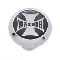 "Chrome Aluminum ""Washer"" Dash Knob with Glossy Black Maltese Cross Sticker"