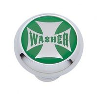 "Chrome Aluminum ""Washer"" Dash Knob with Glossy Green Maltese Cross Sticker"