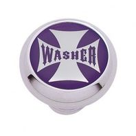 "Chrome Aluminum ""Washer"" Dash Knob with Glossy Purple Maltese Cross Sticker"