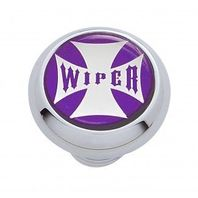"Chrome Aluminum ""Wiper"" Dash Knob with Glossy Purple Maltese Cross Sticker"
