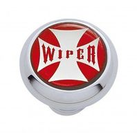 "Chrome Aluminum ""Wiper"" Dash Knob with Glossy Red Maltese Cross Sticker"