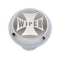 "Chrome Aluminum ""Wiper"" Dash Knob with Glossy Silver Maltese Cross Sticker"