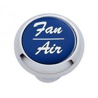 "Chrome Aluminum ""Fan/Air"" Dash Knob with Blue Aluminum Sticker"