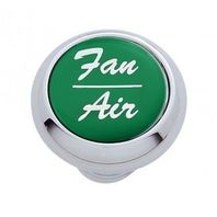 "Chrome Aluminum ""Fan/Air"" Dash Knob with Green Aluminum Sticker"