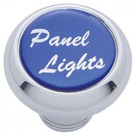 "Chrome Aluminum ""panel lights"" Dash Knob with Blue Aluminum Sticker"