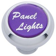 "Chrome Aluminum ""panel lights"" Dash Knob with Purple Aluminum Sticker"