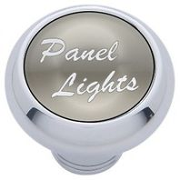 "Chrome Aluminum ""panel lights"" Dash Knob with Silver Aluminum Sticker"