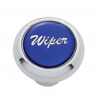 "Chrome Aluminum ""Wiper"" Dash Knob With Blue Aluminum Sticker"