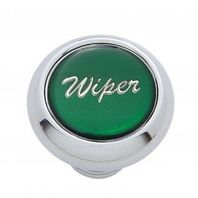 "Chrome Aluminum ""Wiper"" Dash Knob With Green Aluminum Sticker"