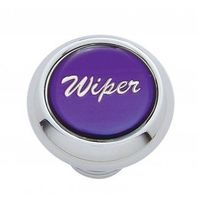 """Chrome Aluminum """"Wiper"""" Dash Knob With Purple Aluminum Sticker"""