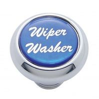 "Chrome Aluminum ""Wiper/Washer"" Dash Knob With Blue Aluminum Sticker"