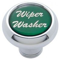 "Chrome Aluminum ""Wiper/Washer"" Dash Knob With Green Aluminum Sticker"