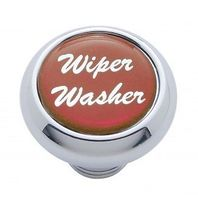 "Chrome Aluminum ""Wiper/Washer"" Dash Knob With Red Aluminum Sticker"