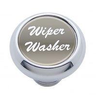 "Chrome Aluminum ""Wiper/Washer"" Dash Knob With Silver Aluminum Sticker"