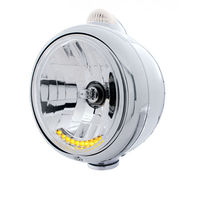 UPI 32041 Chrome  GUIDE  Headlight - 10 LED Crystal H4 Bulb Amber LED/Clear Lens