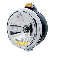 UPI 32044 Black  Guide  Headlight - 10 LED Crystal H4 Bulb w Amber LED & Lens