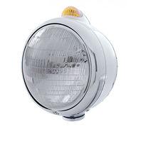 UPI 32390 Stainless  GUIDE  Headlight - 6014 Bulb w/ 2 Function Amber LED & Lens