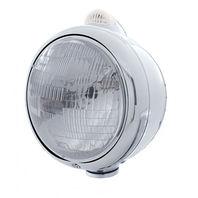 UPI 32393 Stainless  GUIDE  Headlight - H6024 Bulb w/ Amber LED/Clear Lens