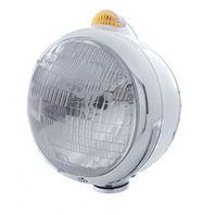 UPI 32402 Chrome  GUIDE  Headlight - H6024 Bulb w/ Amber LED/Amber Lens
