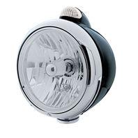 UPI 32417 Black  GUIDE  Headlight - Crystal H4 Bulb w/ Amber LED/Clear Lens