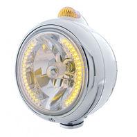 UPI 32426 Chrome  GUIDE  Headlight - 34 Amber LED H4 Bulb w/ Amber LED & Lens