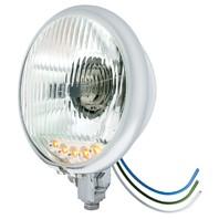 """Chrome 5 3/4"""" Bottom Mount Crystal Headlight & 5 Amber LED Position Light"""