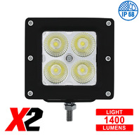 "4 High Power LED ""X2""  Flood Light - Bracket Mount, 1400 Lumens LED, IP68, Each"
