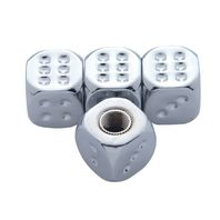 Chrome Dice Valve Caps For Tires and Wheels, Standard Fit, Set of 4