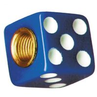 Blue Dice w/ White Dots Valve Caps For Tires and Wheels, Standard Fit, Set of 4