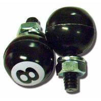 Black 8 Ball License Plate Fasteners, Set of 2, Hot Rod, Rat Rod, Gasser