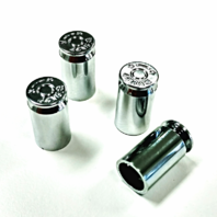 Chrome .44 Mag Bullet Casing Shape  Valve Caps, Standard Fit, Set of 4